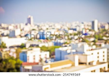 Blurred Unfocused City View - stock photo