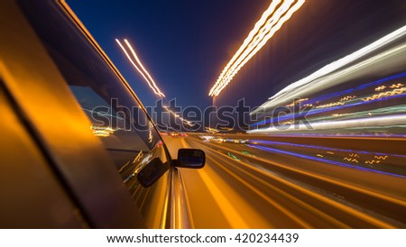 blurred urban look of the car movement nights longexposure - stock photo