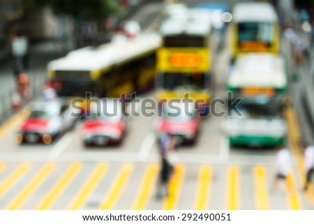 Blurred view crowded people in Hong Kong city - stock photo