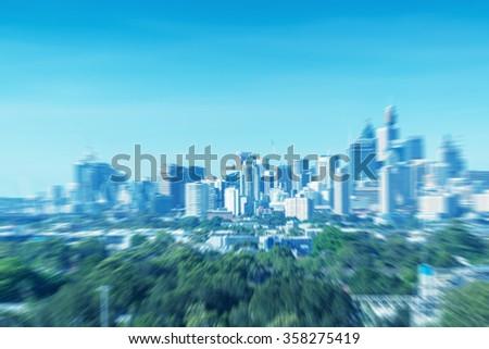 Blurred view of Sydney skyline. - stock photo