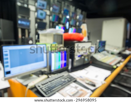 blurred viewpoint room the studio recording broadcast - stock photo