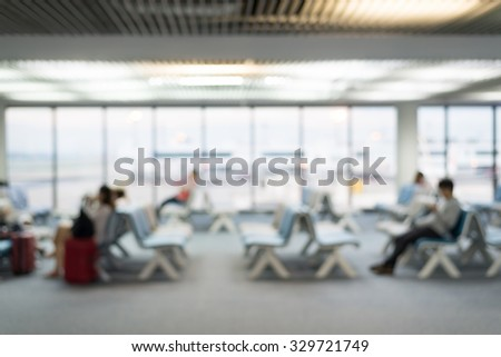 blurred waiting area at the airport - stock photo