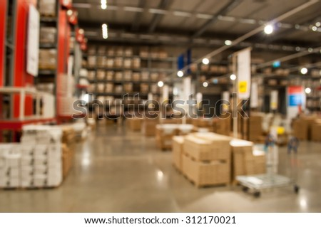 Blurred warehouse or storehouse as background - stock photo