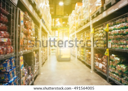 Blurred warehouse or storehouse background,department store background