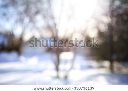 Blurred winter neighborhood background - stock photo