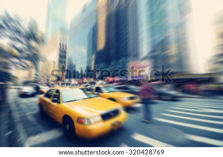Blurry abstract photo of New York City streets, USA - stock photo
