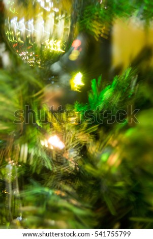 blurry artificial Christmas tree