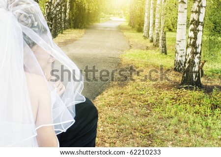 blurry bride with groom in park alley with a squirrel on birch tree at sunset