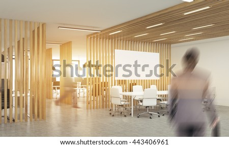 Blurry businesspeople in open office interior with wooden partitions,sunlight and meeting area with blank whiteboard. Side view. Mock up, 3D Rendering - stock photo