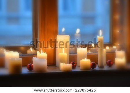Blurry Candles light - stock photo