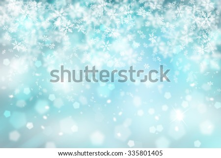 Blurry cyan color abstract snowflake with sparkle Christmas illustration background. Copy space background. - stock photo