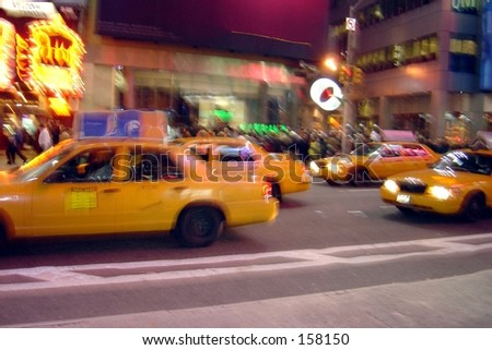Blurry drunken view of busy city street - stock photo