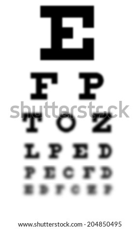 Blurry eye chart. A concept for bad eyesight