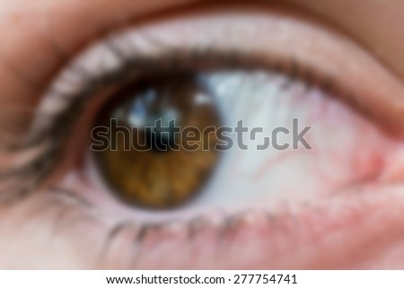 Blurry eye close up. Concept of bad view