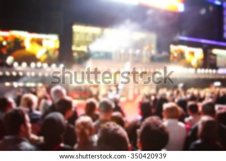 Blurry focus of people join the film festival scene represent the show festival and public relation concept related idea. - stock photo
