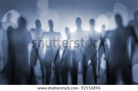 Blurry image of nightmarish alien beings. - stock photo