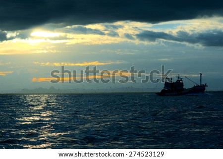Blurry image - Sunset over seascape - stock photo