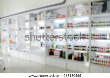 blurry medicine cabinet and store medicine for background  - stock photo