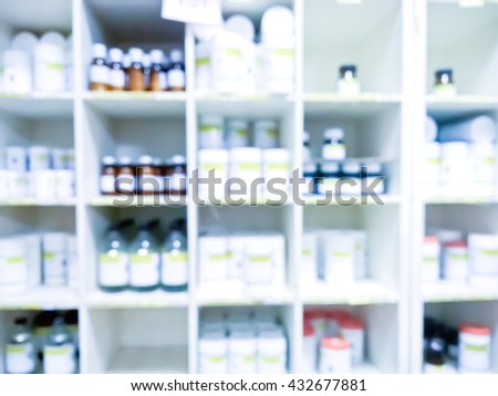 blurry medicine cabinet - Soft light cool tone - stock photo