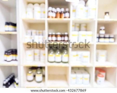 blurry medicine cabinet - Soft light tone - stock photo