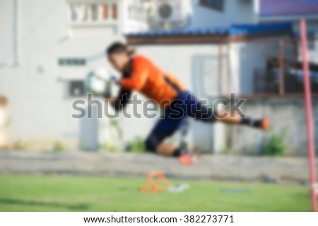 blurry,motion blur,Goalkeeper in action playing football(soccer) - stock photo