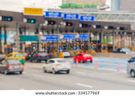blurry of car in Toll collecting on the expressway in Bangkok Thailand. - stock photo