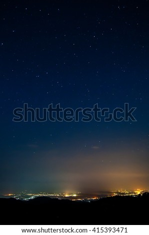 Blurry of landscape night light at Chiang mai.Thailand.background