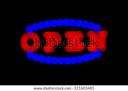 blurry red and blue neon signboard with word open on black background - stock photo