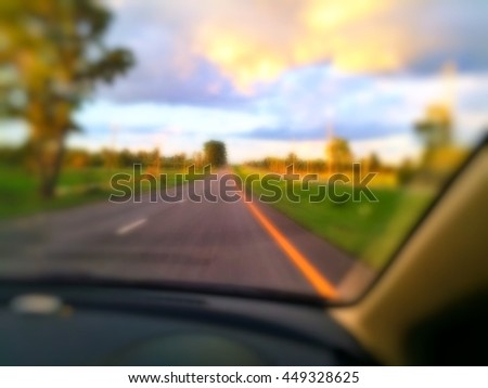 Blurry road trip for background. - stock photo
