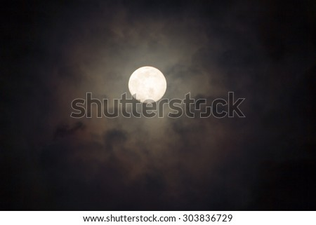 blurry soft and noise dramatic bright moon on cloudy look through window. fancy dream feel - stock photo