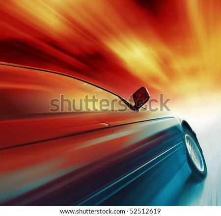 Blurry sport car with red sky and clouds - stock photo