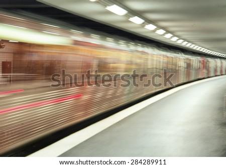 Blurry subway train - stock photo