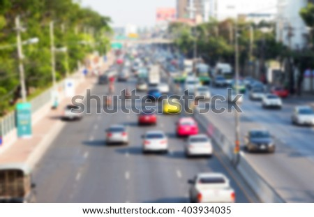 Blurry traffic in Bangkok Thailand road