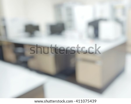 Blurry view of empty modern bright science medical or chemical lab room - stock photo