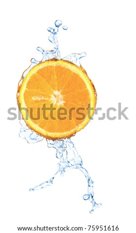 blurry water splash in a slice of orange  isolated on white