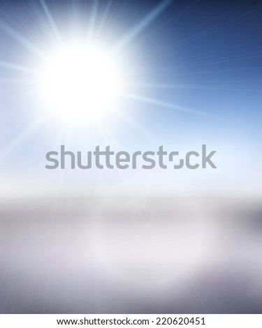 Blurry white mountain, and blur blue sky with winter sun burst, illustration - stock photo