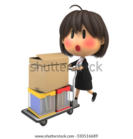 Blushing female staff carrying luggage by hand truck - stock photo