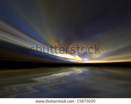 Blustery Sunset - 3D fractal Illustration - stock photo