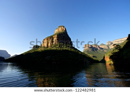 Blyde River Canyon and the three rondovels in Mpumalanga, South Africa - stock photo