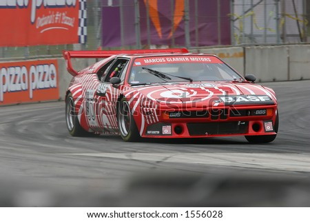 BMW M1 race making a turn during a race
