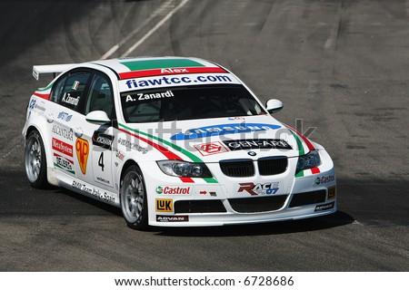 bmw race car in boavista circuit - stock photo