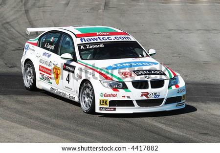 bmw racing car in boavista circuit - stock photo