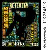 BMX info-colorful text graphic and arrangement concept on black background (word cloud) - stock photo