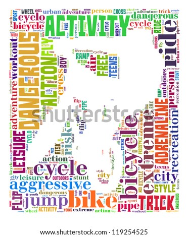 BMX info-colorful text graphic and arrangement concept on white background (word cloud) - stock photo