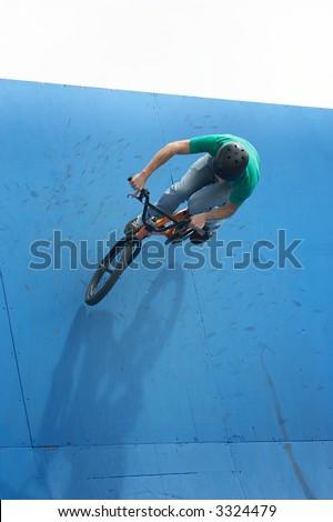 bmx on a ramp - stock photo