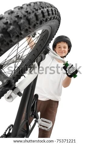 BMX rider, isolated on white - stock photo