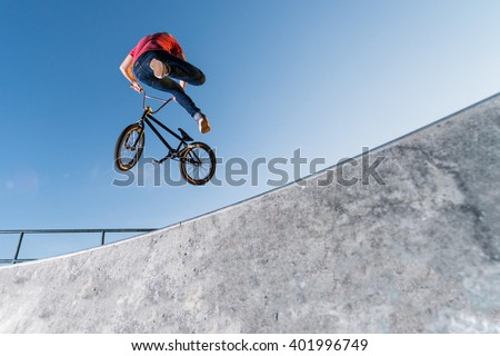 Bmx Table Top on a skate park.