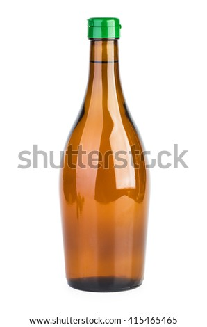 Bo?tle of apple vinegar isolated on white background - stock photo