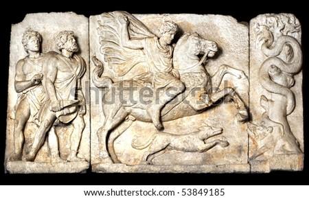 Boar hunt scene, Ancient Roman sculpture, - stock photo