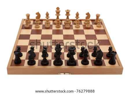 Board game chess with chess pieces in front of white background